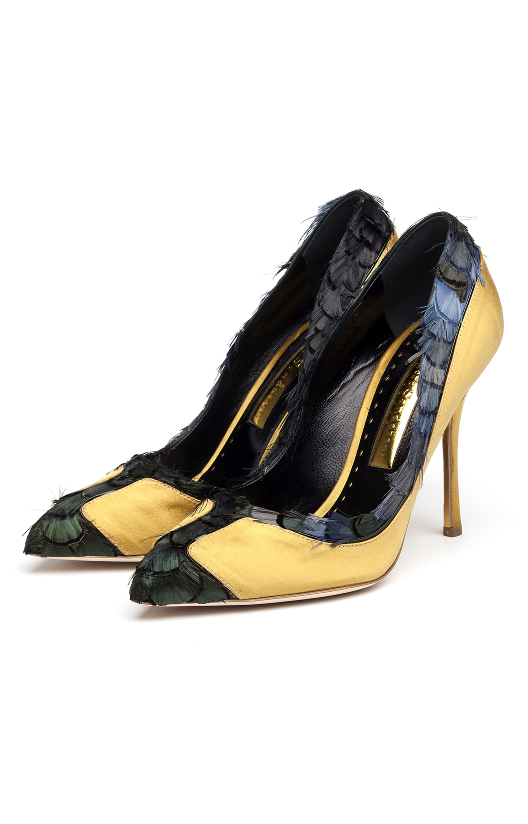 Rupert Sanderson<br>Solace Peacock small feathers - gold satin - black patent trim PAIR