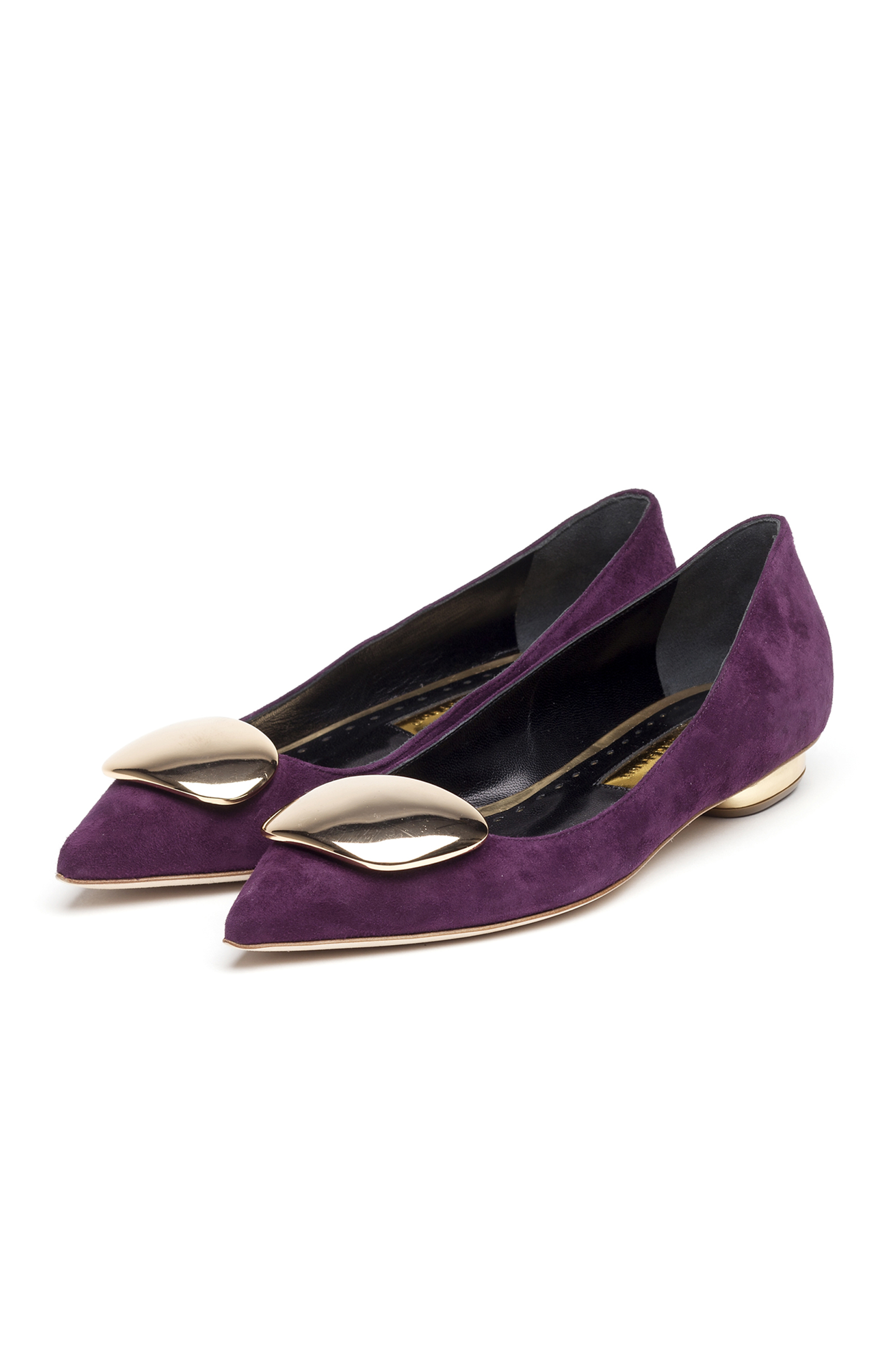 Rupert Sanderson<br>Twinkle Grape suede - gold crome pebble and heel PAIR