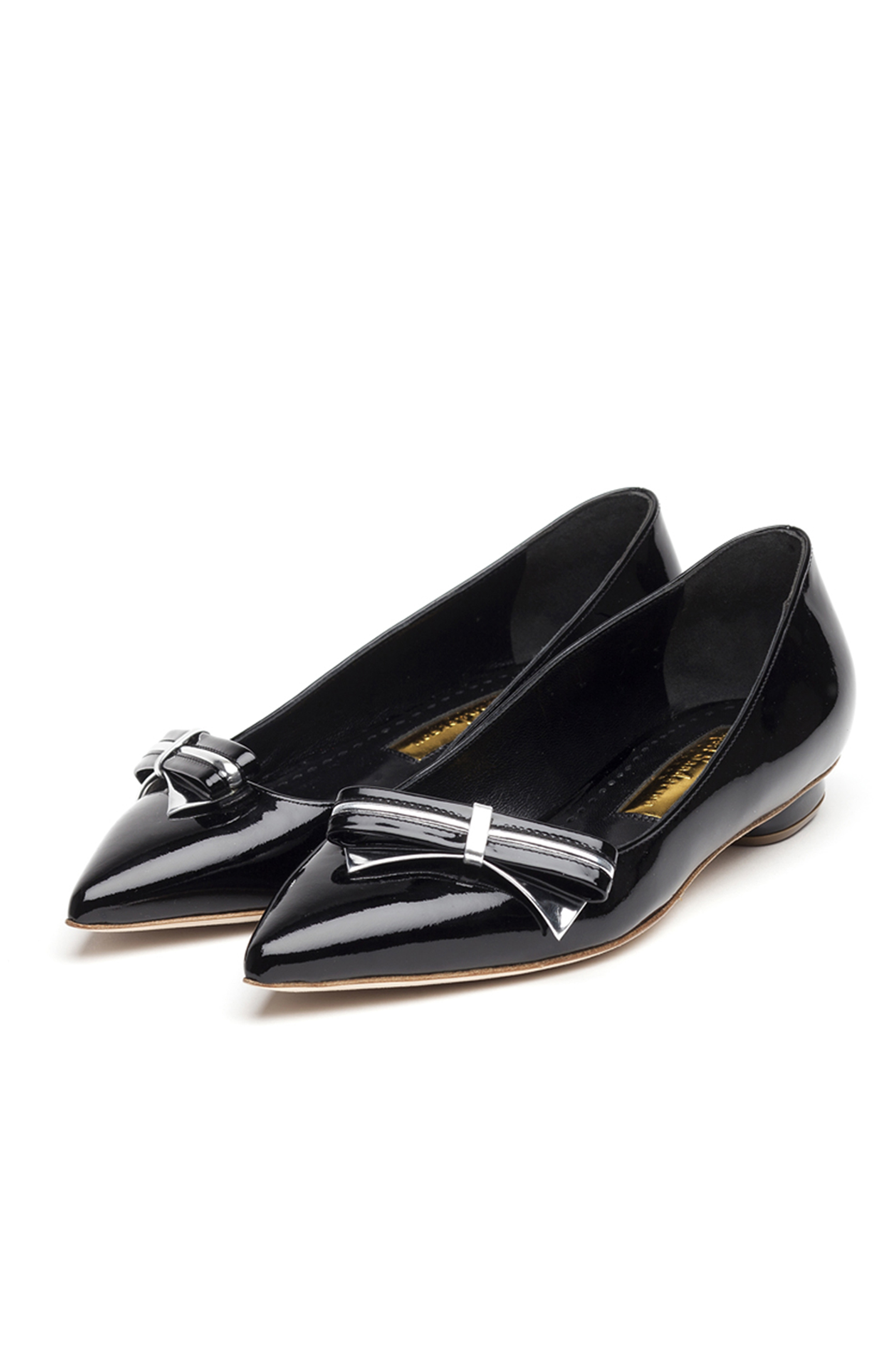 Rupert Sanderson<br>Verona Black patent body - black patent and silver mirror bow PAIR
